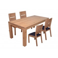 Castillo Wild Oak 4-6 Person Dining Table & 4 Slatted Dining Chair c/w Fabric Seat Pad