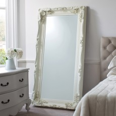 Gallery Carved Louis Leaner Cream Mirror