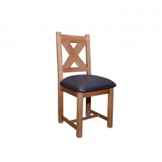 Triomphe Weathered Oak Dining Chair C/W Chocolate Brown Faux Leather Seat Pad