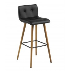 Frida Bar Stool Faux Leather Black