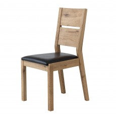 Castillo Wild Oak Slatted Dining Chair c/w Leather Look Seat Pad