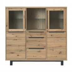 Castillo Wild Oak 2 Door Glass Display Cabinet