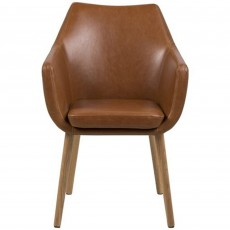 Nora Carver Dining Chair Faux Leather Brandy
