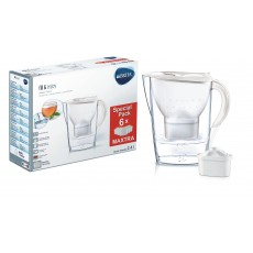 Brita Marella 2.4L White Cool Water Jug + 6 Replacement Cartridges