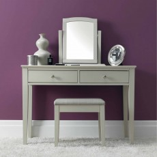 Julie Bedroom Stool With Fabric Seat Pad Grey