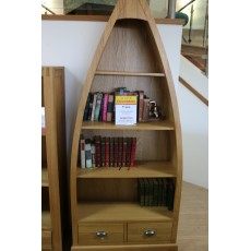 Prague Oak Office Boat Shaped Bookcase