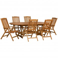 Royalcraft Edinburgh 6 Seater Extending Dining Set With Recliner Chairs