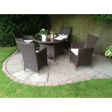 Royalcraft Naples Brown  4 Seater Round Dining Set With Carver Chairs