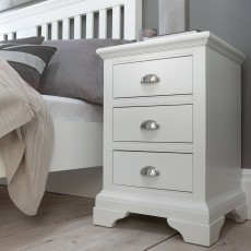 Lipari White Painted 3 Drawer Bedside Locker