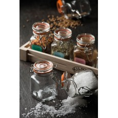 Kilner 20 Piece Square Top Clip Spice Jar Set