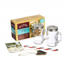 Kilner 400ml/0.4L Drinking Set for 2 Handled Jars With Lids & Straws