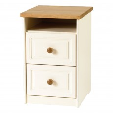Benedict Zen Creme Oak Trim 2 Drawer Bedside Locker