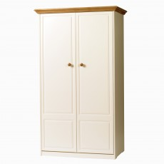 Benedict Zen Creme Oak Trim 2 Door Wardrobe