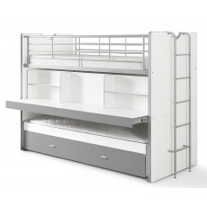 Vipack Bonny High Sleeper With Desk & Pull Out Bed Silver