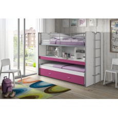 Vipack Bonny High Sleeper With Desk & Pull Out Bed Fuchsia