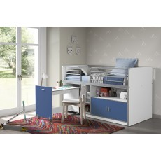 Vipack Bonny Mid Sleeper With Pull Out Desk Blue