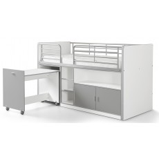 Vipack Bonny Mid Sleeper With Pull Out Desk Silver