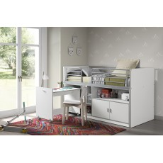 Vipack Bonny Mid Sleeper With Pull Out Desk White