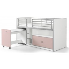 Vipack Bonny Mid Sleeper With Pull Out Desk Light Pink
