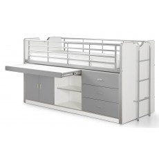 Vipack Bonny Mid Sleeper With Slide Out Desk Silver