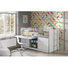 Vipack Bonny Mid Sleeper With Slide Out Desk White