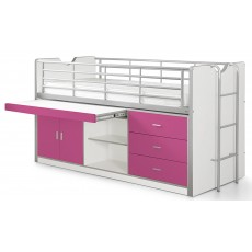 Vipack Bonny Mid Sleeper With Slide Out Desk Fuchsia