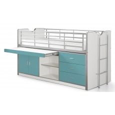 Vipack Bonny Mid Sleeper With Slide Out Desk Turquoise