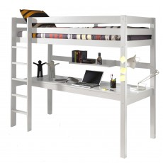 Vipack Pino High Sleeper With Large Study Desk White