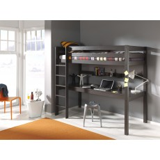 Vipack Pino High Sleeper With Large Study Desk Taupe