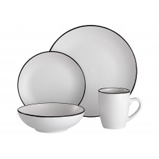 Ladelle Temper 16 Piece White & Black Dinner Set