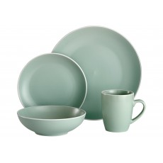 Ladelle Temper 16 Piece Green & White Dinner Set
