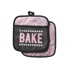 Ladelle Bake the World Pink & Charcoal Pot Holder Pair