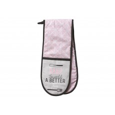 Ladelle Bake The World Pink & Grey Double Oven Mitt