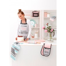 Ladelle Bake The World Pink & Grey Apron
