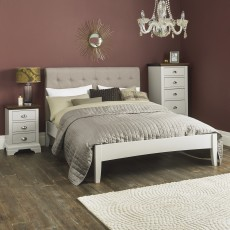 Zadar Soft Grey Double Bedstead with Upholstered Headboard