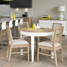 Cosmos Painted Round 4-6 Person Extending Table + 4 Slat Back Chairs