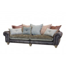 Alexander & James Bloomsbury 4 Seater Split Scatter Back Sofa Cal Smoke Leather