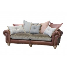 Alexander & James Bloomsbury 3 Seater Split Scatter Back Sofa Bound Tan Boy Leather