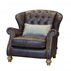 Alexander & James Bloomsbury Wing Chair Cal Smoke Leather