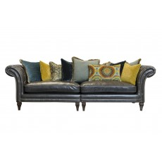 Alexander & James Eden Grand 4 Seater Split Scatter Back Sofa Saddle Peat Leather