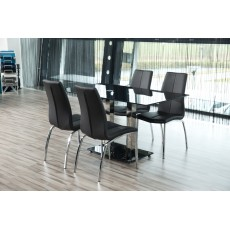 Asama Dining Chair Black Faux Leather