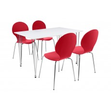 Lene 4 Person Rectangle Dining Table + 4 Red Marcus Chairs