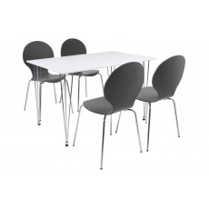 Lene 4 Person Rectangle Dining Table + 4 Grey Marcus Chairs