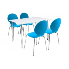 Lene 4 Person Rectangle Dining Table + 4 Blue Marcus Chairs