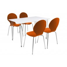 Lene 4 Person Rectangle Dining Table + 4 Orange Marcus Chairs