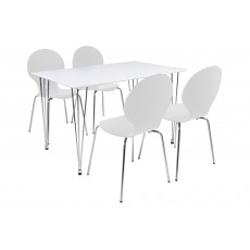 Lene 4 Person Rectangle Dining Table + 4 White Marcus Chairs