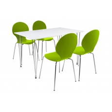 Lene 4 Person Rectangle Dining Table + 4 Green Marcus Chairs