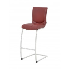 Terrano Bar Stool Faux Leather Red With Cantilever Leg