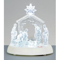 White 20cm LED Nativity with Music