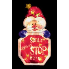 Warm White 45cm x 24cm LED Santa Please Stop Here